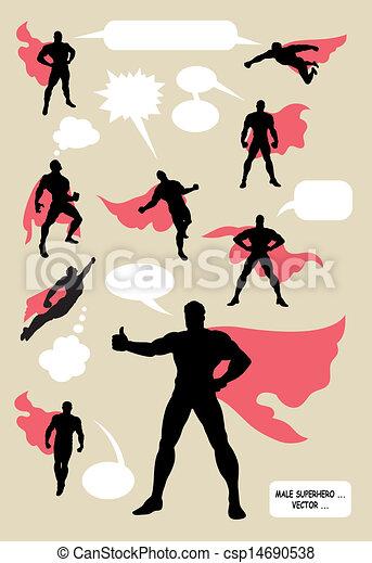 silhuetas, macho, superhero - csp14690538