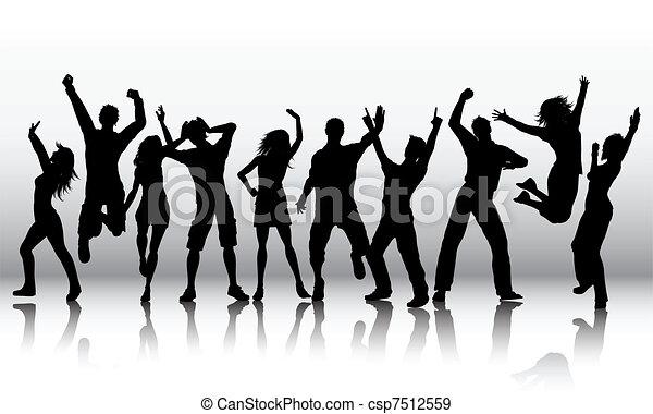 silhuetas, pessoas, dançar - csp7512559