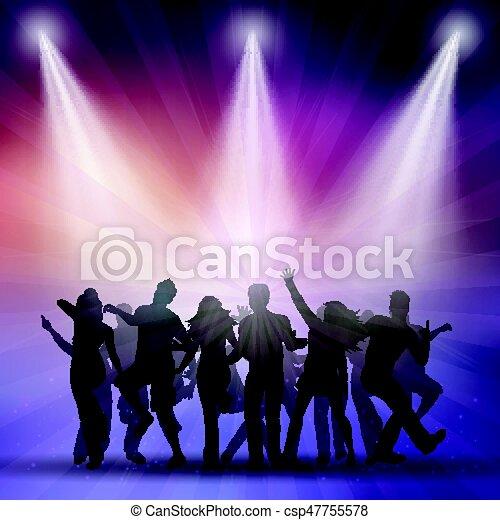 silhuetas, pessoas, dançar - csp47755578