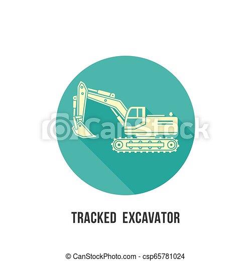 silueta, localizado, escavador, sombra, círculo, ícone - csp65781024