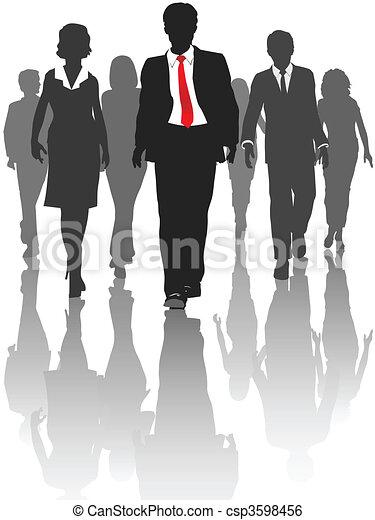 silueta, pessoas negócio, passeio, recursos humanos - csp3598456