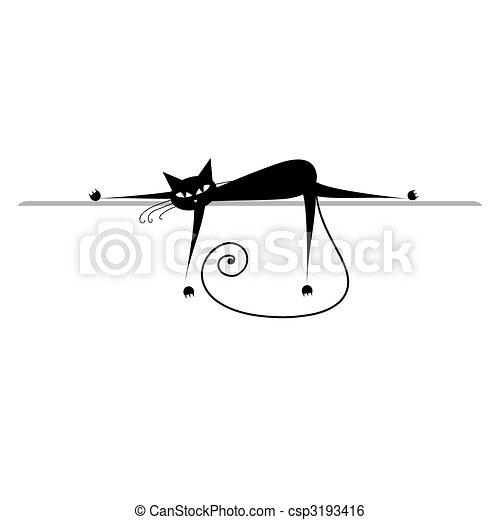 silueta, relax., gato, pretas, desenho, seu - csp3193416