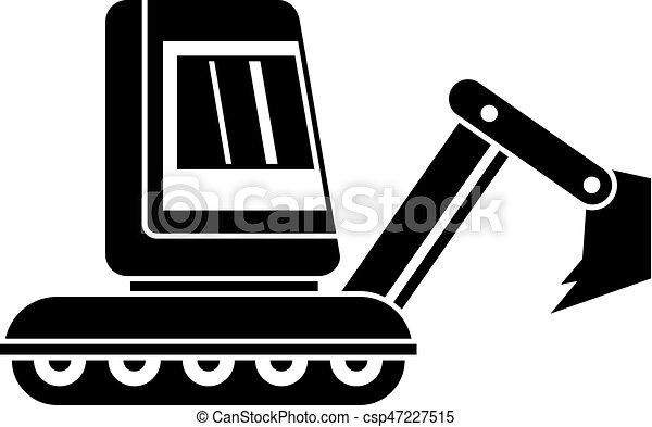 simples, mini, escavador, ícone - csp47227515