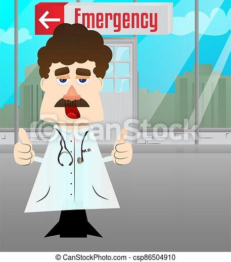 sinal, polegares, dois, hands., doutor, fazer - csp86504910