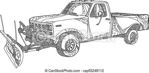 snow-plow-truck-doodle - csp55248112