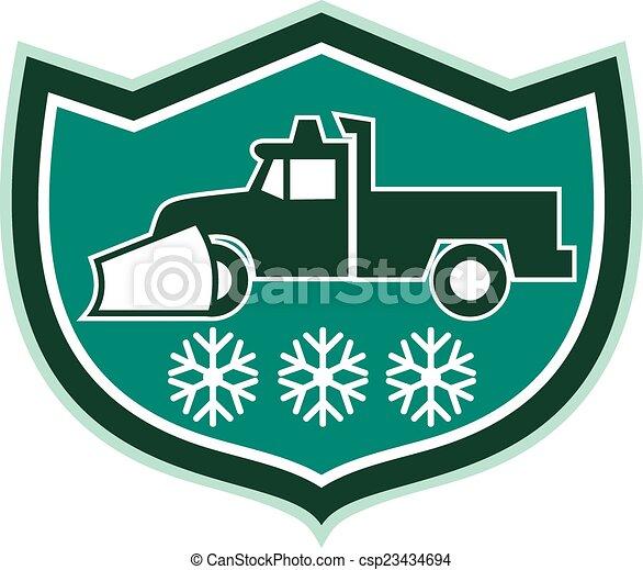 snowflakes, arado, caminhão, neve, escudo, retro - csp23434694