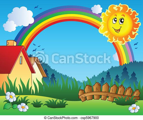 sol, paisagem, arco íris - csp5967900
