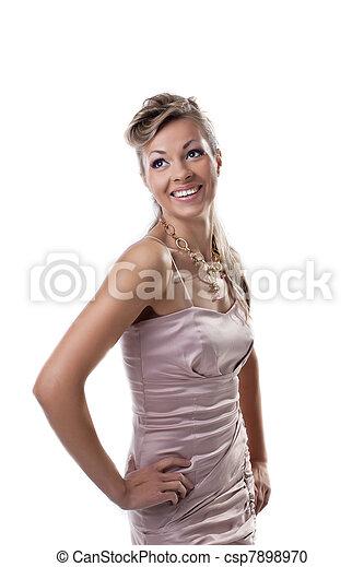 sorrizo, mulher feliz, jovem, isolado - csp7898970