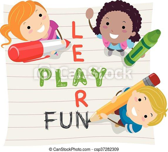stickman, aprender, crianças, jogo, divertimento - csp37282309