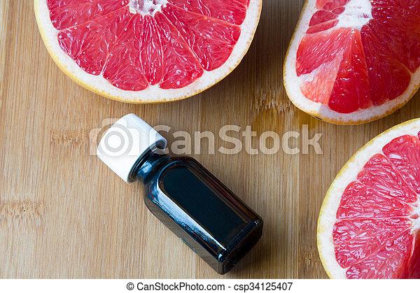 suculento, concept., grapefruit., fresco, óleo, garrafa copo, essencial, spa - csp34125407