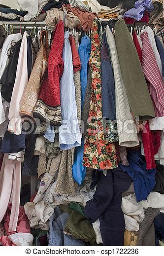 sujo, overfilled, armário, roupas - csp1722236