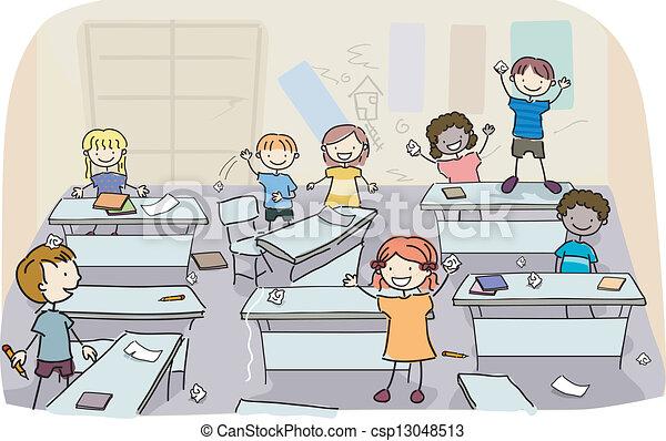sujo, sala aula, crianças, vara - csp13048513