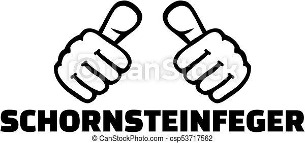 título, alemão, varredura, trabalho, polegares, chaminé - csp53717562