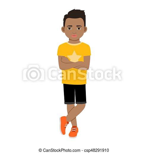t-shirt, menino, pretas, amarela - csp48291910