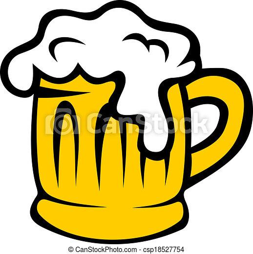 tankard, cerveja, caricatura, espumoso - csp18527754