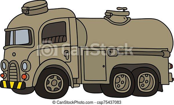 tanque, caminhão velho, engraçado, militar, areia - csp75437083