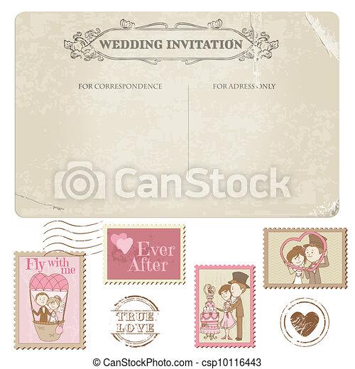 taxa postal, cartão postal, -, desenho, convite, selos, casório, scrapbook, parabéns - csp10116443