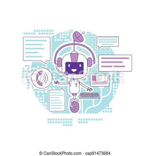 teia, application., serviço, criativo, robô, caricatura, linha magra, internet, vetorial, app, apoio, idéia, illustration., chatbot, automatizado, 2d, programa, conceito, responder, online, design., personagem, comunicação - csp91473684