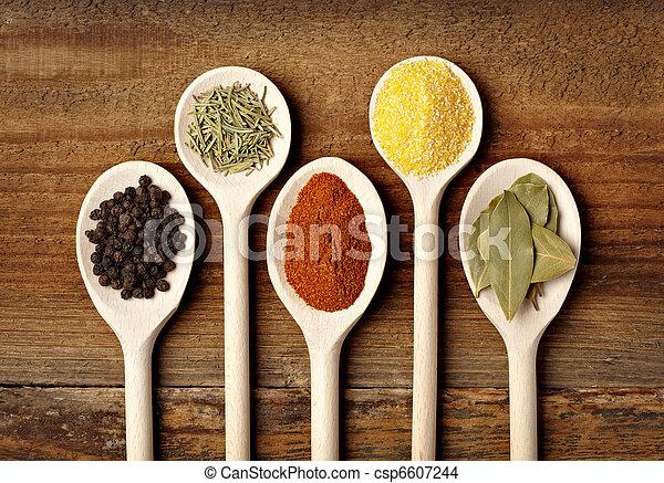 tempero, alimento, tempero, ingredientes - csp6607244