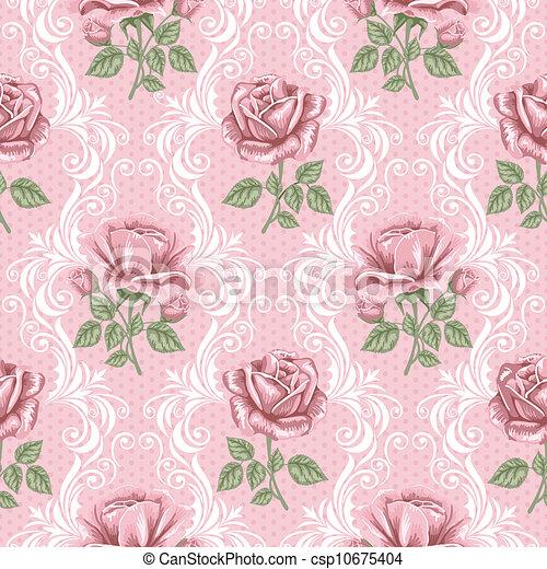 teste padrão flor, -, seamless, rosas, retro - csp10675404