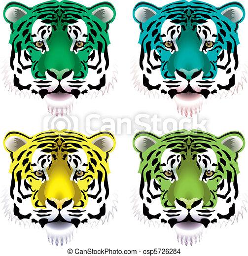 tiger, cabeças - csp5726284