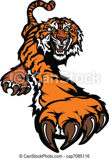 tiger, corporal, mascote, gráfico, prowling - csp7085116