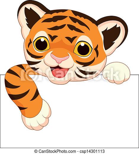tiger, cute, em branco, caricatura, sinal - csp14301113