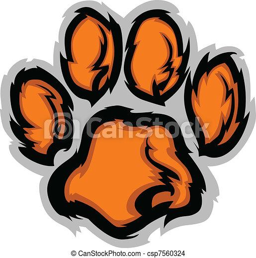 tiger, illustratio, pata, vetorial, mascote - csp7560324