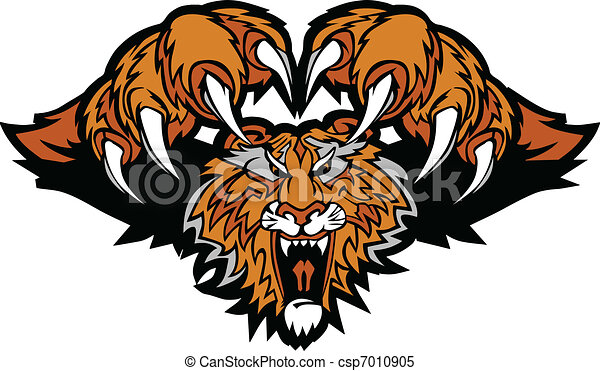 tiger, logotipo, mascote, gráfico, pouncing - csp7010905