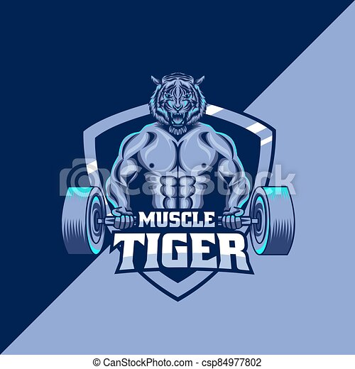 tiger, modelo, mascote, músculo, logotipo - csp84977802