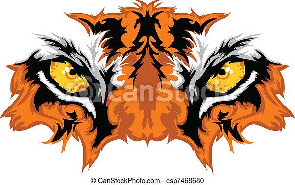 tiger, olhos, mascote, gráfico - csp7468680