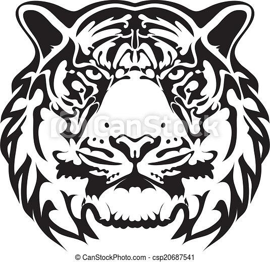tiger, tatuagem, vetorial, - - csp20687541