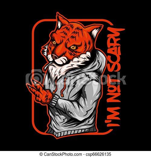 tiger, vetorial, fumaça, ilustração - csp66626135