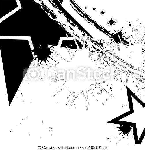 tinta preta, estrela, splatter - csp10310176