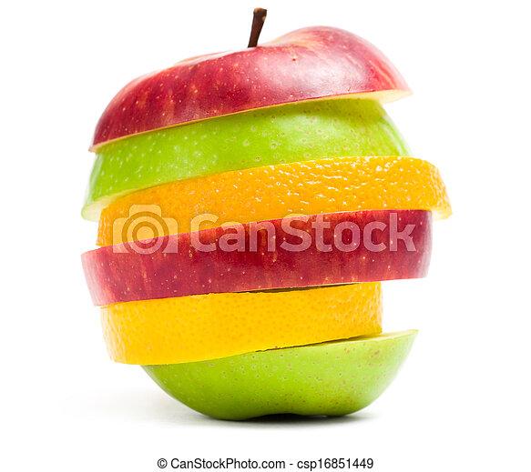 tiro, maçã cortam fatias, cima, forma, fruta, fim - csp16851449