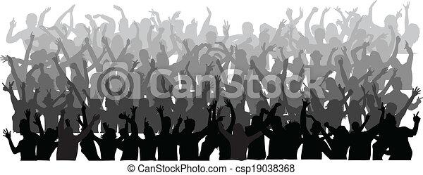 torcida, grande, pessoas, dançar - csp19038368