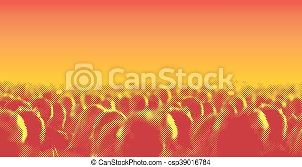 torcida, pessoas., efeito, halftone, grande, linha, tela - csp39016784
