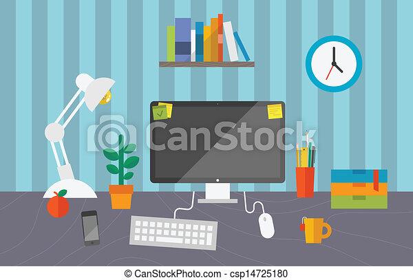 trabalhando escritório, espaço - csp14725180