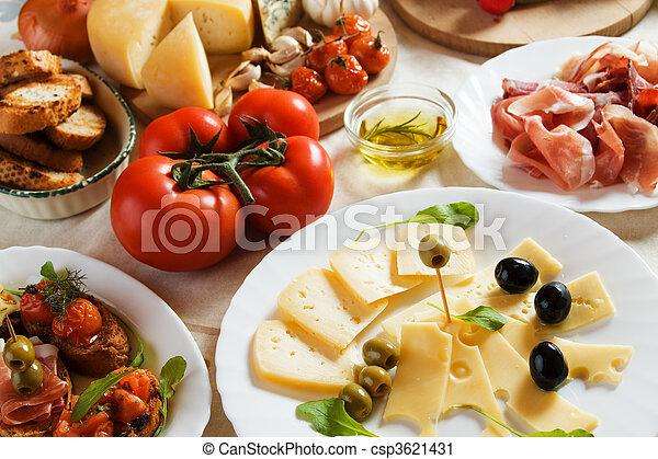 tradicional, alimento, antipasto, italiano, aperitivo - csp3621431