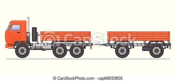 transporte, isolado, ilustração, experiência., vetorial, caminhão, vehicle., branca - csp69033805