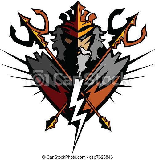 tridente, titan, coroa, mascote - csp7625846