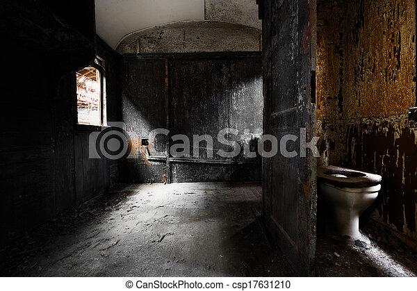 vagão, antigas, detalhe, trem, interior, sujo - csp17631210