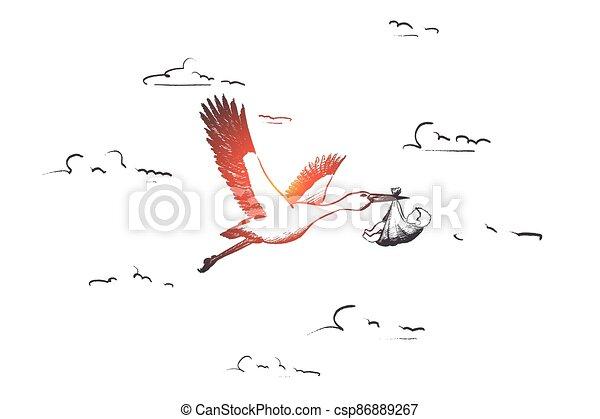 vector., isolado, desenhado, mão, gravidez, concept. - csp86889267