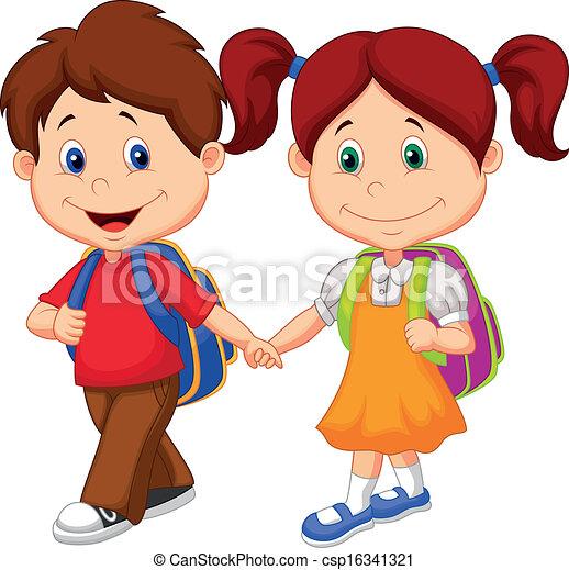 venha, feliz, crianças, ba, caricatura - csp16341321