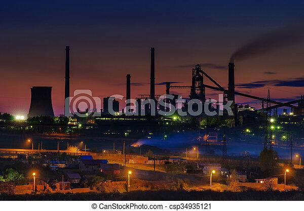 verão, planta, tempo, indústria, noturna - csp34935121