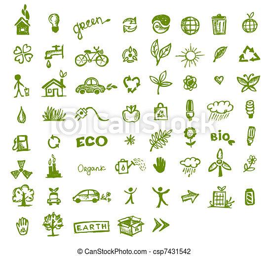 verde, ecologia, desenho, seu, ícones - csp7431542