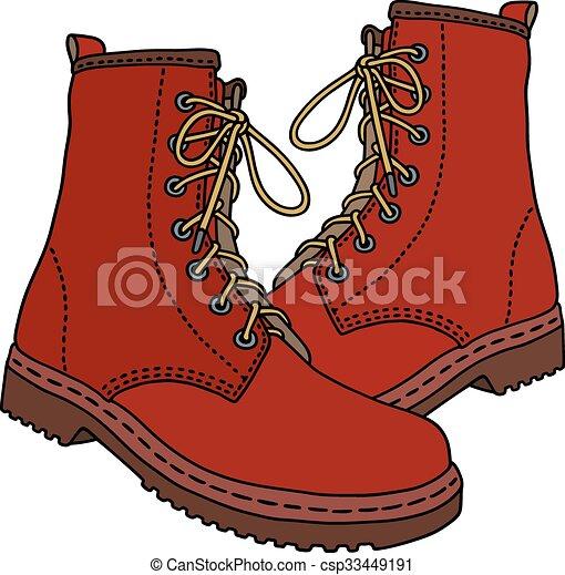 vermelho, couro, botas - csp33449191