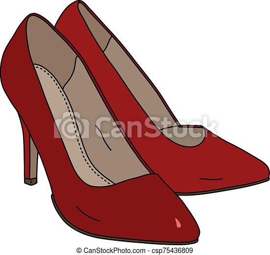 vermelho, womans, sapatos - csp75436809