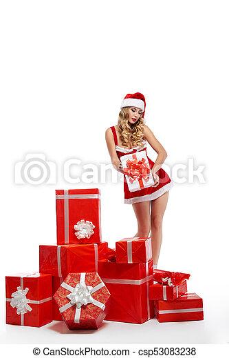 vestido, jovem, equipamento, impressionante, posar, femininas, natal, seducti - csp53083238