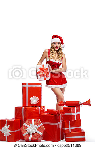 vestido, jovem, equipamento, impressionante, posar, femininas, natal, seducti - csp52511889
